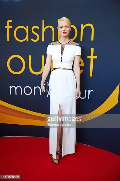 Model and moderator Franziska Knuppe wears 'Escada' evening dress on July 31 2015 in Montabauer Germany Franziska Knuppe was on the way to moderate...