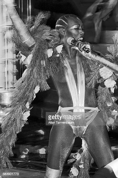 Model and musician Grace Jones performs at Studio 54 New Year's Eve Party New York New York January 1 1978