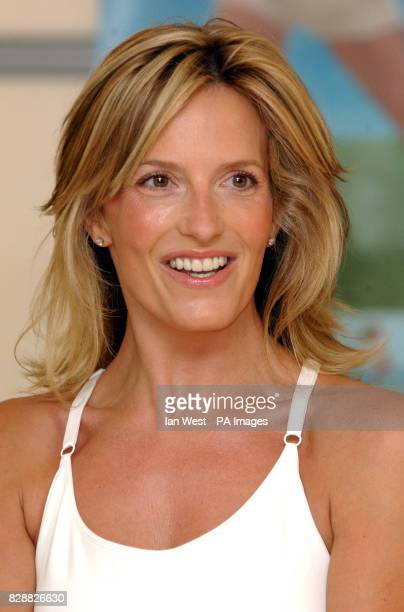 Model and photographer Penny Lancaster poses for photographers during a photocall to launch her new DVD and Video called Ultimate Body Workout at...