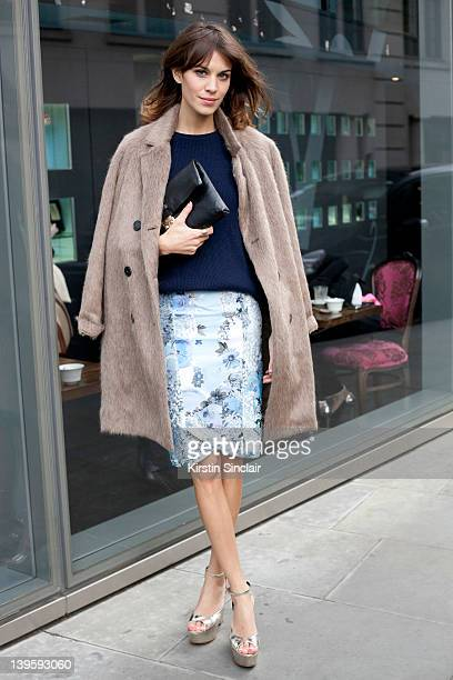 Model and presenter Alexa Chung wearing Christopher Kane skirt Mulberry bag and jacket street style at London fashion week autumn/winter 2012...