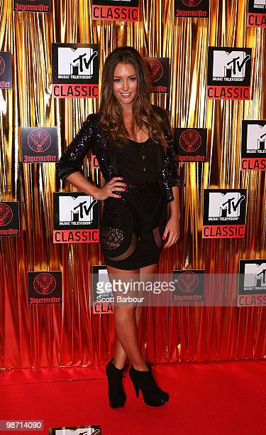 Model and presenter Erin McNaught arrives at the 'MTV Classic The Launch' music event at the Palace Theatre on April 28 2010 in Melbourne Australia...