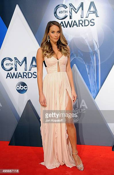 Model and Presenter Hannah Davis attends the 49th annual CMA Awards at the Bridgestone Arena on November 4 2015 in Nashville Tennessee