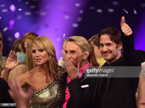Model and presenter Heidi Klum is pictured together with her jury members Wolfgang Joop and Thomas Hayo the final of Germany's Next Top Model TV show...