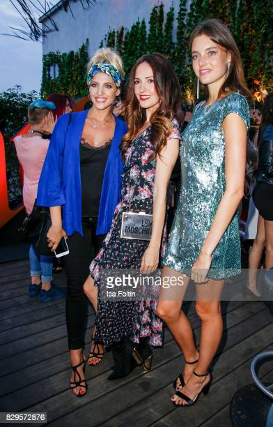 Model and StyleInfluencer Sarah Nowak German presenter Johanna Klum and Germany next topmodel winner Celine Bethmann during the Urban Decay Naked...