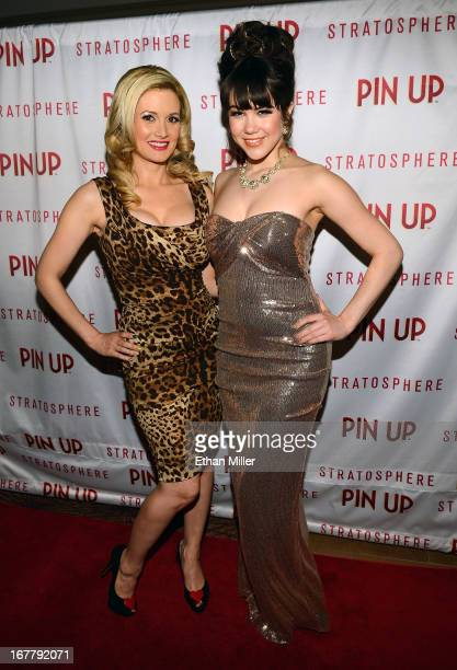 Model and television personality Holly Madison and model Claire Sinclair arrive at the premiere of the show 'Pin Up' at the Stratosphere Casino Hotel...