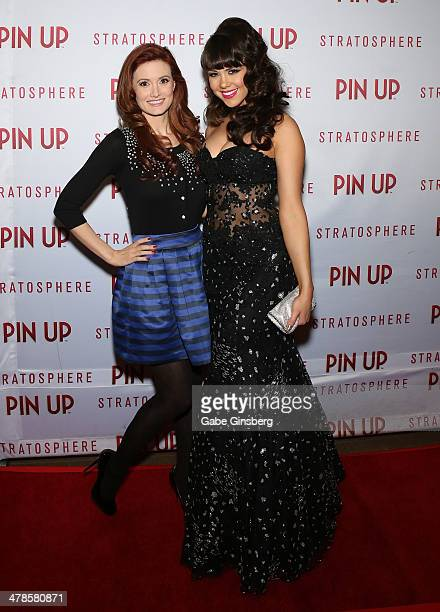 Model and television personality Holly Madison and model Claire Sinclair arrive at the anniversary celebration of the show 'Pin Up' at the...