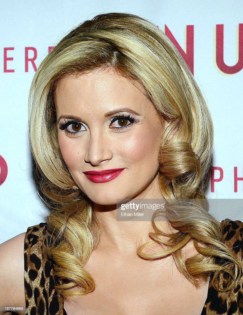 Model and television personality Holly Madison arrives at the premiere of the show 'Pin Up' at the Stratosphere Casino Hotel on April 29, 2013 in Las Vegas, Nevada.