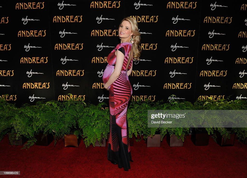 Model and television personality Holly Madison arrives for the grand opening celebration at Andrea's at the Wynn Las Vegas on January 16, 2013 in Las Vegas, Nevada.
