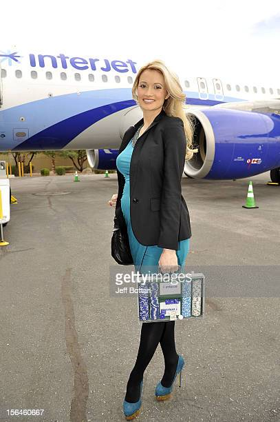 Model and television personality Holly Madison attends the introduction of Interjet a leading Mexican airline makes its inaugural flight to McCarran...