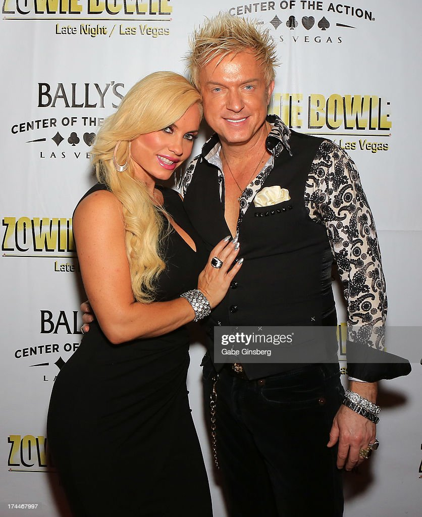 Model and television personality Nicole 'Coco' Austin (L) and singer Chris Phillips of Zowie Bowie arrive at the 'Zowie Bowie Late Night' show at Bally's Las Vegas on July 25, 2013 in Las Vegas, Nevada.