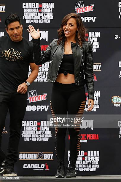 Model and trainer Ana Cheri on stage during their official weighin at TMobile Arena Toshiba Plaza on May 6 2016 in Las Vegas Nevada