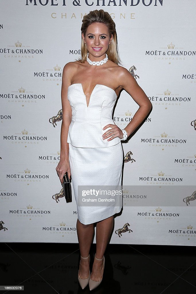 Model and TV personality <a gi-track='captionPersonalityLinkClicked' href=/galleries/search?phrase=Jesinta+Campbell&family=editorial&specificpeople=7056645 ng-click='$event.stopPropagation()'>Jesinta Campbell</a> poses at the Moet & Chandon Derby Eve party held at The Waiting Room, Crown Towers on November 1, 2013 in Melbourne, Australia.