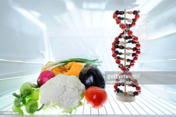 DNA model and vegetables in refrigerator