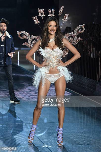 Model and Victoria's Secret Angel Alessandra Ambrosio from Brazil walks the runway during the 2015 Victoria's Secret Fashion Show at Lexington Avenue...