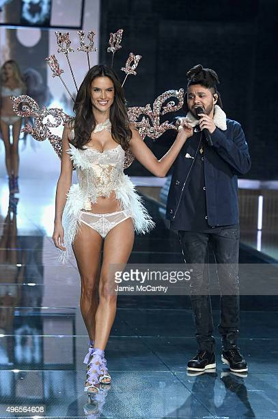 Model and Victoria's Secret Angel Alessandra Ambrosio from Brazil walks the runway while The Weeknd performs during the 2015 Victoria's Secret...