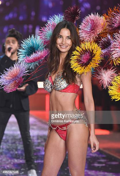 Model and Victoria's Secret Angel Lily Aldridge from California walks the runway wearing the $2 Million 2015 Fireworks Fantasy Bra by Mouawad during...