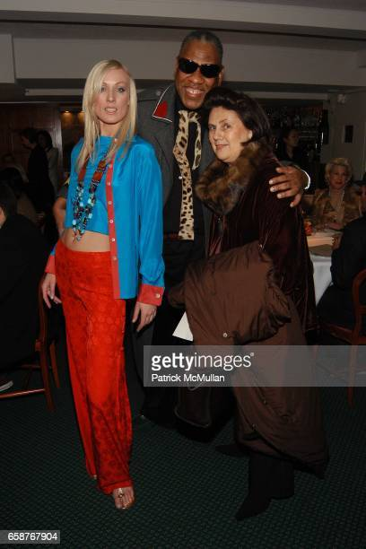 Model Andre Leon Tally and Suzy Menkes attend Andre Leon Talley and Robert Burke host at La Caravelle for Loulou de la Falaise Collection on February...