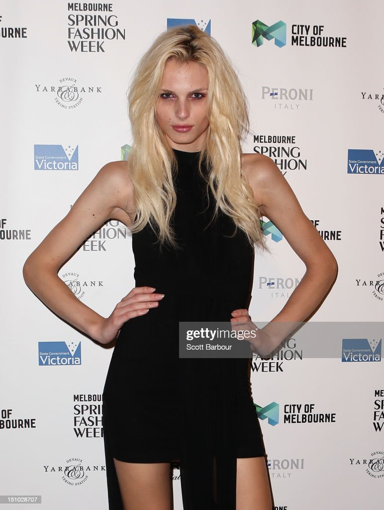 Model Andrej Pejic arrives at the Melbourne Spring Fashion Week Opening Gala at the Melbourne Town Hall on August 31, 2012 in Melbourne, Australia.