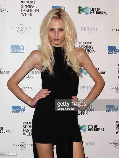 Model Andrej Pejic arrives at the Melbourne Spring Fashion Week Opening Gala at the Melbourne Town Hall on August 31 2012 in Melbourne Australia