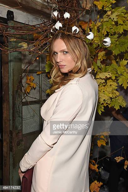 Model Andreja Pejic attend as Teen Vogue and Aerie celebrate Emma Roberts' November Cover at 58 Gansevoort on October 24 2015 in New York City