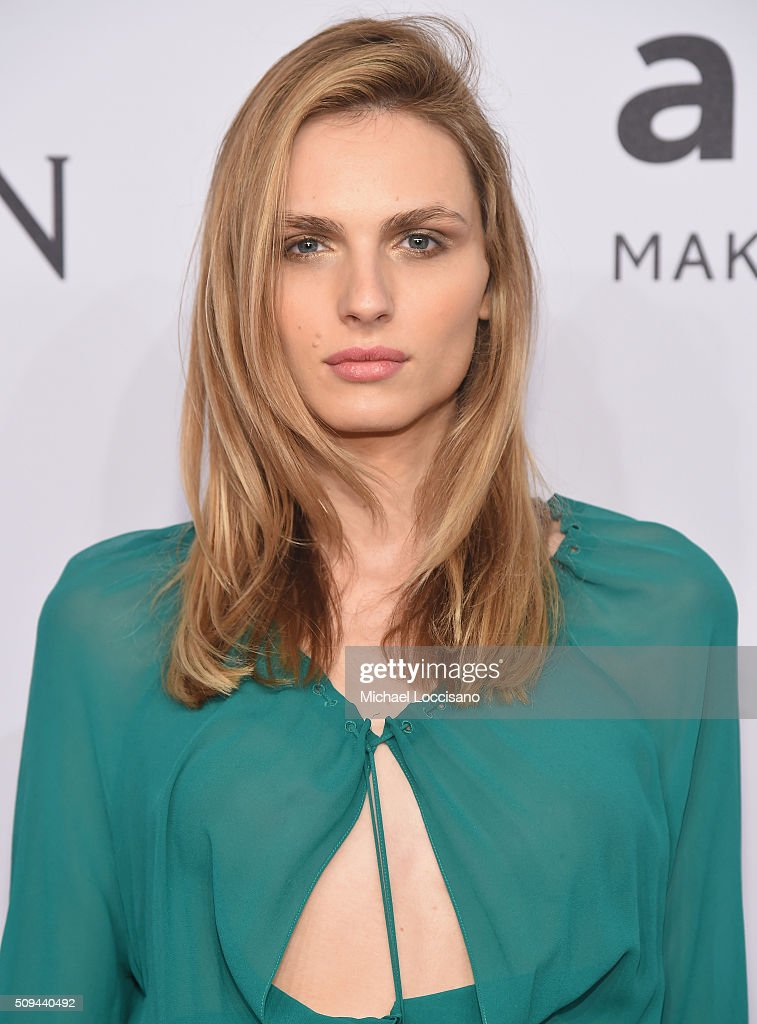 Model Andreja Pejic attends 2016 amfAR New York Gala at Cipriani Wall Street on February 10, 2016 in New York City.