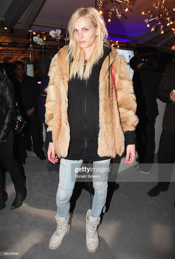 Model Andrej Pejic attends the Samsung Galaxy Lounge VIP Reception at Mercedes-Benz Fashion Week Fall 2013 at Lincoln Center on February 10, 2013 in New York City.