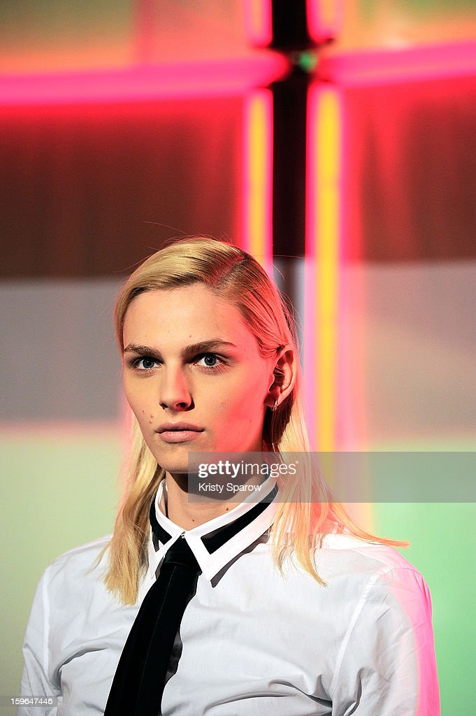 Model Andrej Pejic poses during the Jean Paul Gaultier Menswear Autumn / Winter 2013/14 show as part of Paris Fashion Week on January 17, 2013 in Paris, France.