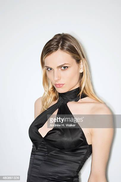 Model Andreja Pejic poses for a portrait at the 2015 amfAR Inspiration Gala New York at Spring Studios on June 16 2015 in New York City