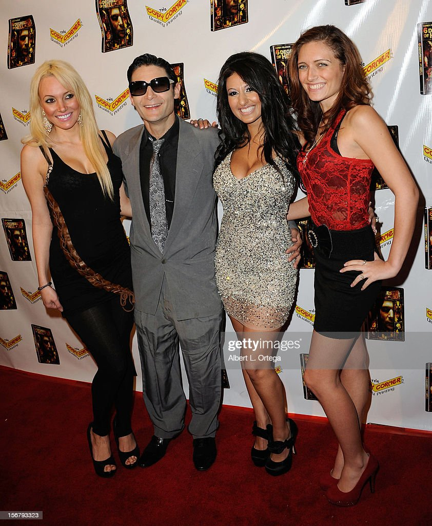 Model Angel Monroe, actor <a gi-track='captionPersonalityLinkClicked' href=/galleries/search?phrase=Corey+Feldman&family=editorial&specificpeople=175941 ng-click='$event.stopPropagation()'>Corey Feldman</a>, model Jamileh Hanna and actress Chelsea Windsor arrive Premiere Of '6 Degrees Of Hell' - Arrivals held at Laemmle Music Hall 3 on November 20, 2012 in Beverly Hills, California.