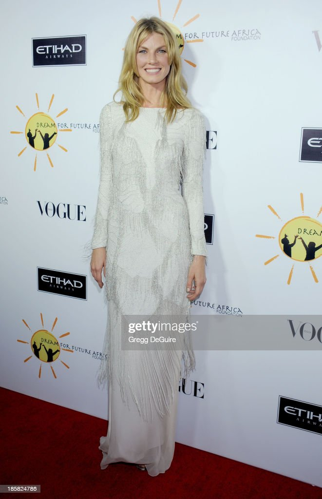Model Angela Lindvall arrives at the Dream For Future Africa Foundation Gala at Spago on October 24, 2013 in Beverly Hills, California.