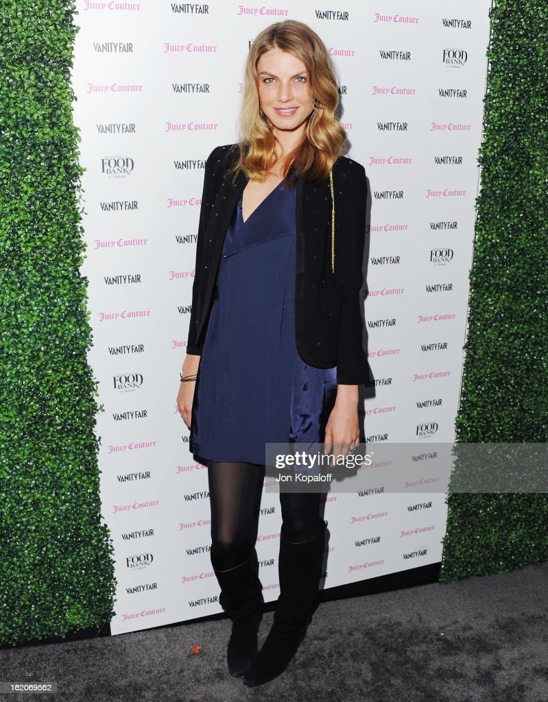 Model Angela Lindvall arrives at the Vanity Fair And Juicy Couture Celebration Of The 2013 Vanities Calendar at Chateau Marmont on February 18, 2013 in Los Angeles, California.