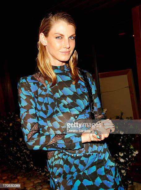 Model Angela Lindvall attends an informal supper hosted by Barneys New York to toast designers Jack McCollough and Lazaro Hernandez of Proenza...