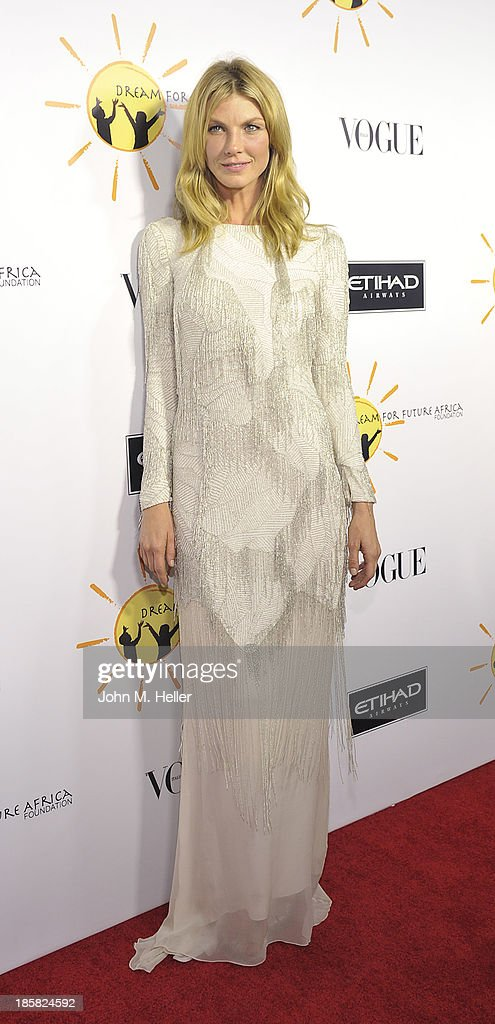 Model Angela Lindvall attends the Dream For Future Africa Foundation's Inaugural Gala Honoring Franca Sozzani Of VOGUE Italia at Spago on October 24, 2013 in Beverly Hills, California.