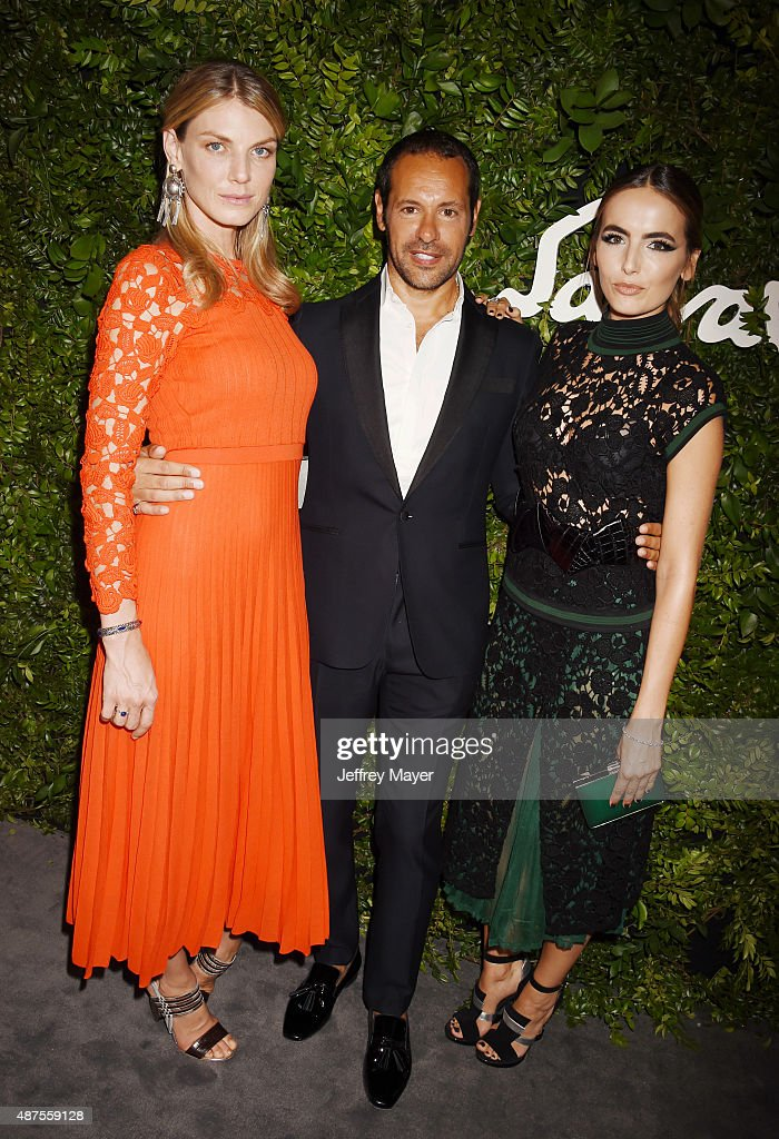 Model Angela Lindvall, creative director for Salvatore Ferragamo Massimiliano Giornetti and actress Camilla Belle arrive at the Salvatore Ferragamo 100 Years In Hollywood celebration at the newly unveiled Rodeo Drive flagship Salvatore Ferragamo boutique on September 9, 2015 in Beverly Hills, California.