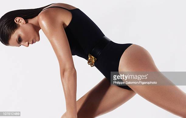 Model Angela Lindvall poses for a beauty and fashion shoot for Madame Figaro on July 24 2010 in Paris France Figaro ID 098190014 Bodysuit by Wolford...