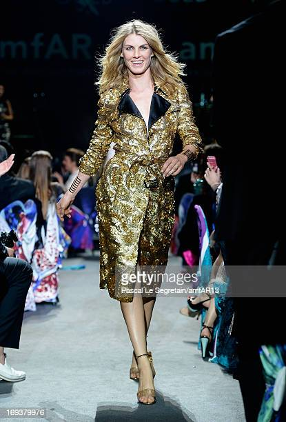 Model Angela Lindvall walks the runway as part of amfAR's 20th Annual Cinema Against AIDS during The 66th Annual Cannes Film Festival at Hotel du...