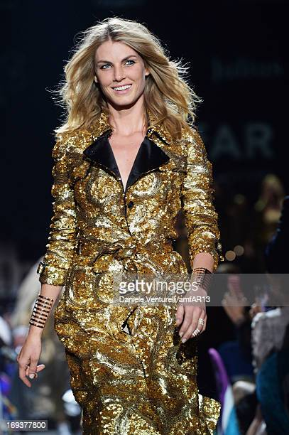 Model Angela Lindvall walks the runway at amfAR's 20th Annual Cinema Against AIDS during The 66th Annual Cannes Film Festival at Hotel du CapEdenRoc...