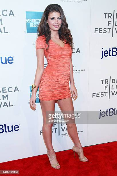 Model Angela Martini attends 'Mansome' Premiere during the 2012 Tribeca Film Festival at the Borough of Manhattan Community College on April 21 2012...