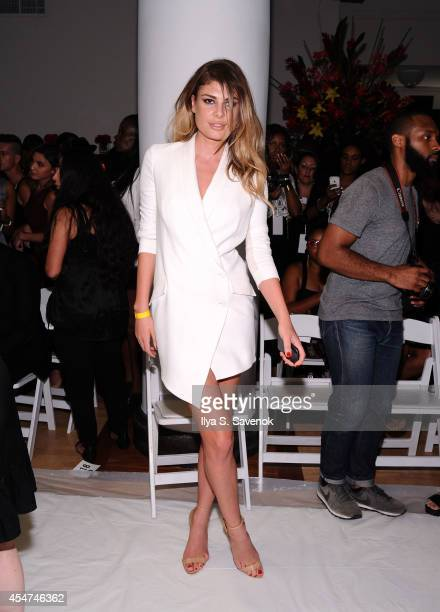 Model Angela Martini attends the Argyleculture By Russell Simmons fashion show during MercedesBenz Fashion Week Spring 2015 at Helen Mills Event...