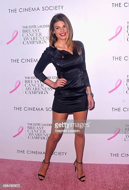 Model Angela Martini attends the 'Hear Our Stories Share Yours' screening hosted by the Estee Lauder Companies Breast Cancer Awareness Campaign and...