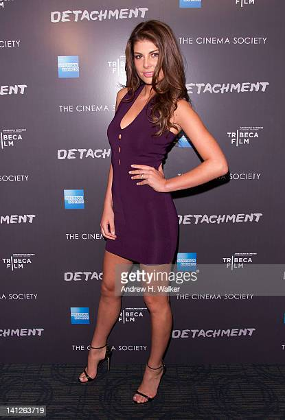 Model Angela Martini attends the premiere of Tribeca Film's Detachment hosted by American Express the Cinema Society at Landmark Sunshine Cinema on...