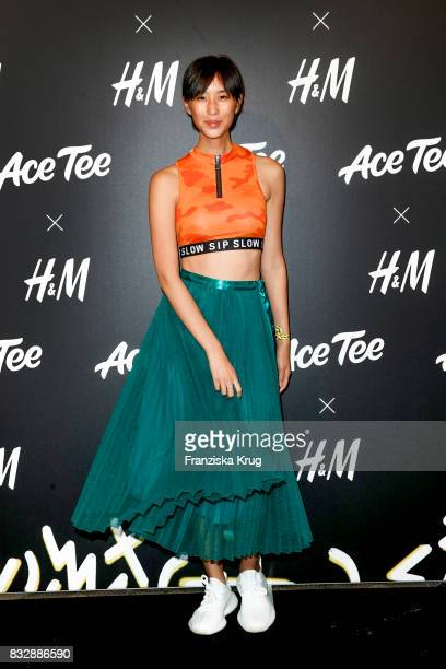 Model AnhPhuong Dinh Phan attends the HM Ace Tee showcase on August 16 2017 in Berlin Germany