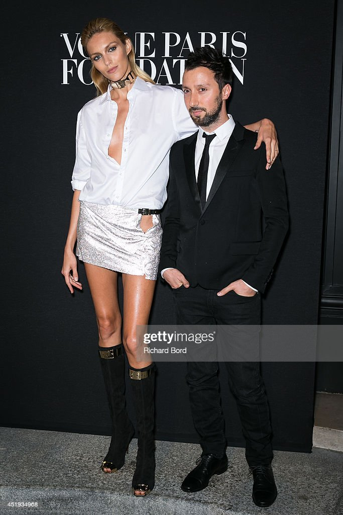 Model Anja Rubik and designer Anthony Vaccarello attend the Vogue Foundation Gala as part of Paris Fashion Week at Palais Galliera on July 9 2014 in...