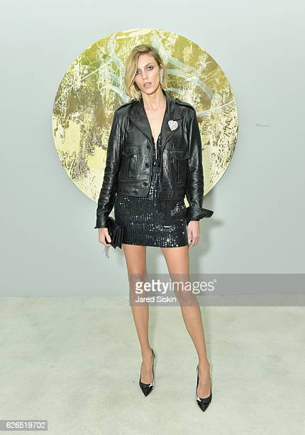 Model Anja Rubik attends the Jose Parla 'Roots' exhibition opening at Jewel Box National YoungArts Foundation on November 29 2016 in Miami Florida