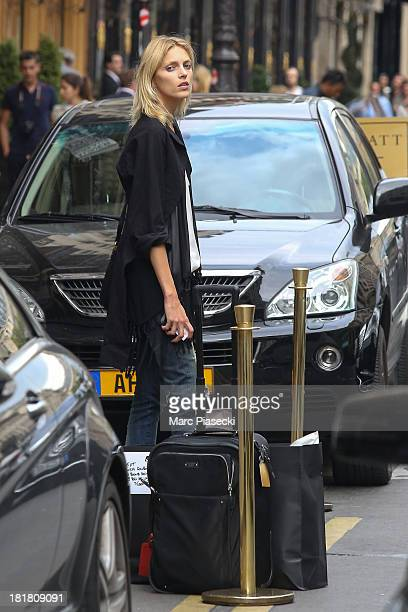 Model Anja Rubik is seen leaving the Park Hyatt hotel on September 25 2013 in Paris France