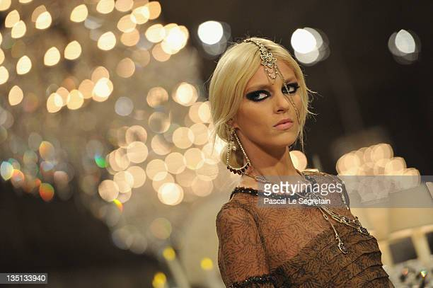 Model Anja Rubik walks down the runway during the Chanel ParisBombay Show at Grand Palais on December 6 2011 in Paris France