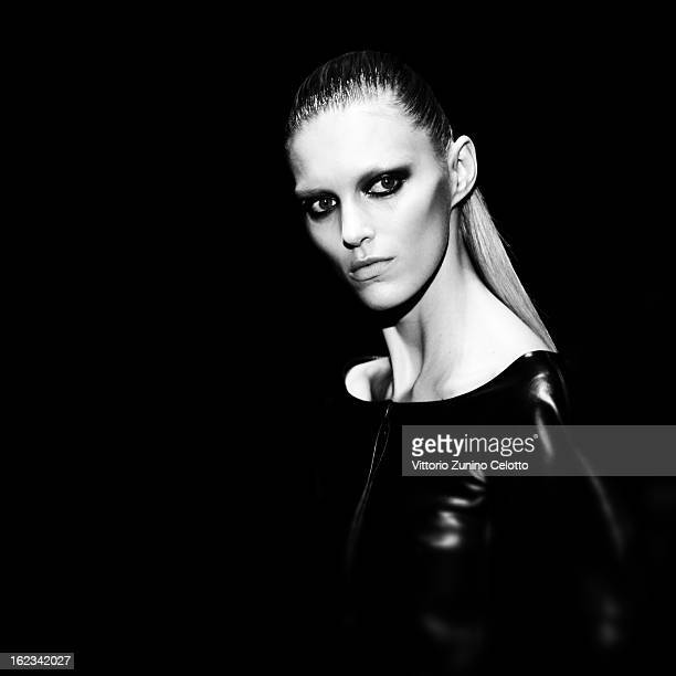Model Anja Rubik walks the runway at the Gucci fashion show as part of Milan Fashion Week Womenswear Fall/Winter 2013/14 on February 20 2013 in Milan...