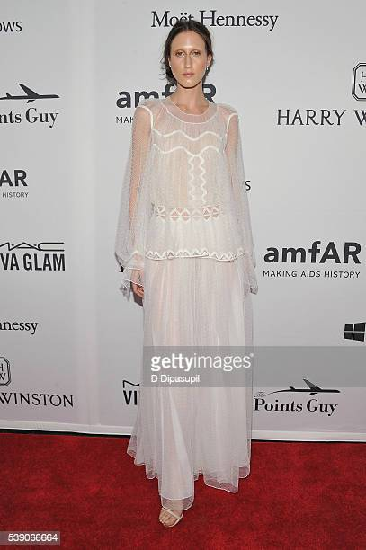 Model Anna Cleveland attends the 7th Annual amfAR Inspiration Gala at Skylight at Moynihan Station on June 9 2016 in New York City