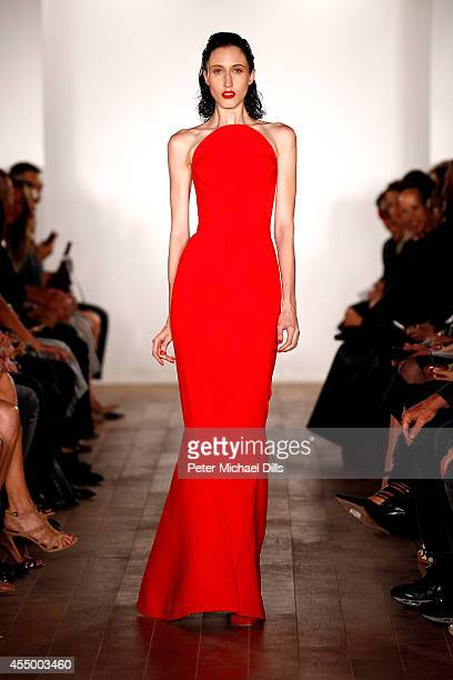 Model Anna Cleveland walks the runway at the Zac Posen fashion show during MercedesBenz Fashion Week Spring 2015 on September 8 2014 in New York City