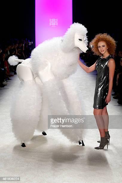 Model Anna Ermakova walks the runway at the Riani show during the MercedesBenz Fashion Week Berlin Autumn/Winter 2015/16 at Brandenburg Gate on...